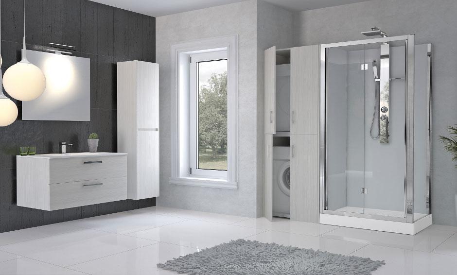 Douche + meuble avec emplacement pour le lave-linge et sèche-linge